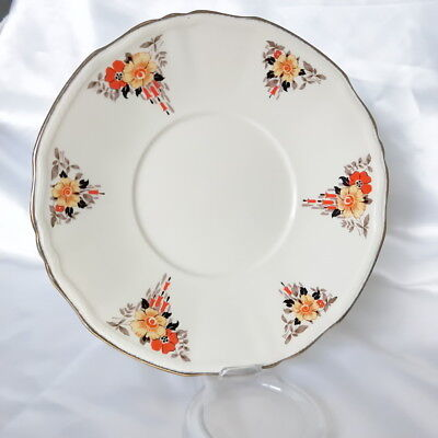🌟 ALFRED MEAKIN ORANGE & YELLOW FLORAL ON CREAM DINNER PLATE 22.4cm