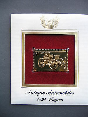 1995 1894 Haynes Antique Automobiles 22kt Gold GOLDEN replica Cover FDC STAMP