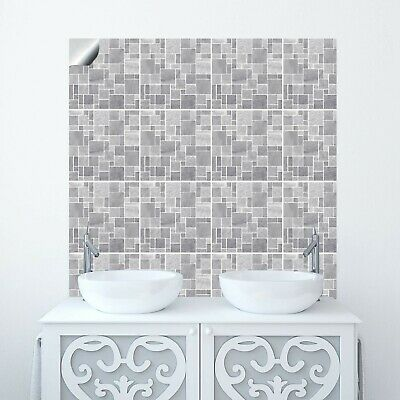 """Moroccan Mosaic Effect 6"""" Tile Sticker Bathroom Kitchen Grey Transfer Cover Up"""
