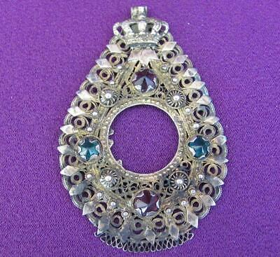 18C. Antique Sterling Silver Crown Photo Pendant