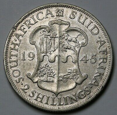 1945 South Africa Florin / 2 Shillings Silver Coin George VI KM# 29 Tough Date