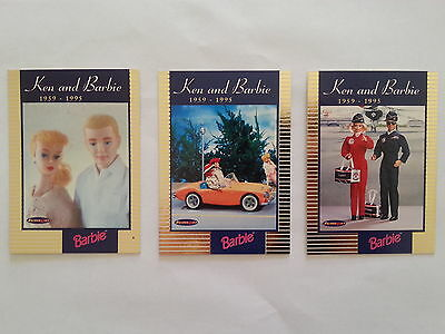 1996 Tempo 36 Years Of Barbie Set of 3 Ken & Barbie Insert Cards