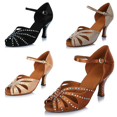 High quality Rhinestone Women Girl's Ballroom Latin Tango Dance Shoes heeled