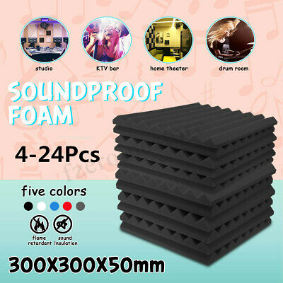 4-24x Acoustic Panels Tiles Studio Sound Proofing Insulation Closed Cell Foam