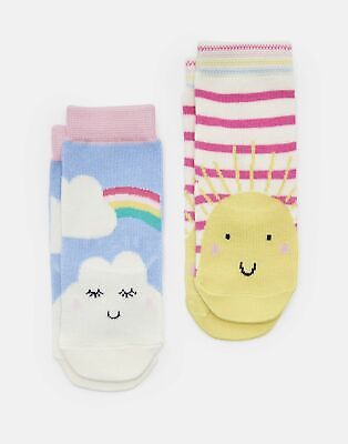 Joules Baby 204085 Character Socks Two Pack in SUNSHINE AND CLOUD