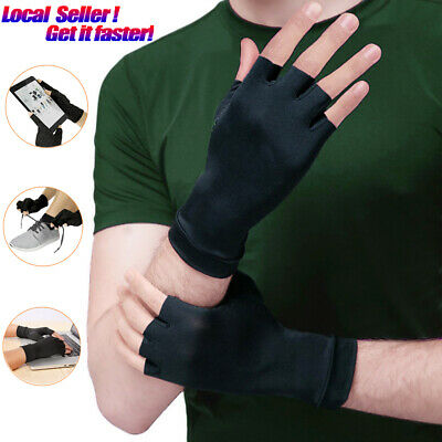 Copper Arthritis Compression Gloves Wrist Support Brace Palm Finger Pain Relief