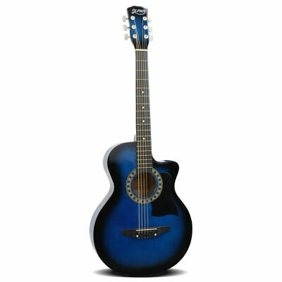 "38"" Inch Acoustic Guitar Wooden Folk Classical Cutaway Steel String Blue @HOT"