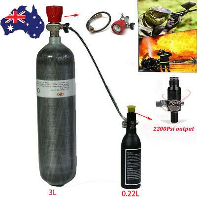 For Air/CO2 Soda Water Supply High Pressure Tank 3L+0.22L Air Cylinder+Valve AU