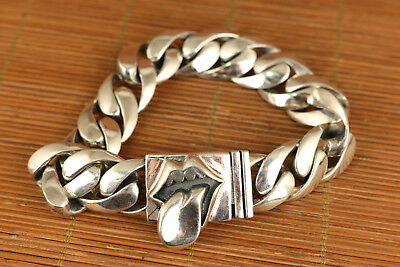 80g chinese Sterling Silver hand carved Big lips bracelet collectable