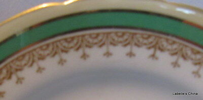 """Aynsley Wendover 6.25"""" Bread / Side Plate Made in England Green Gold Gilt Trim"""