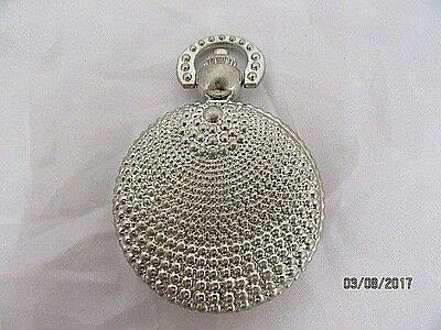 Pocket Watch Silvered Decorated Hunter Case Quartz  in Working Order Ideal Gift