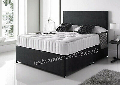 ORTHOPAEDIC SUEDE DIVAN BED SET & MATTRESS AND HEADBOARD 3ft 4ft 4ft6in 5ft 6ft