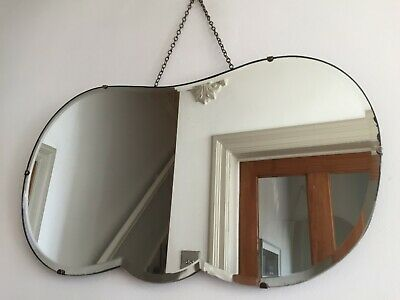 Large Vintage Frameless Bevelled Wall Mirror Rare Cloud Shape Chain 65x37cm m130