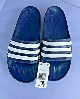 bada5510210 New Adidas Duramo Slide Sandals Size 10 Blue White Water Shoes Flip Flops  Thongs