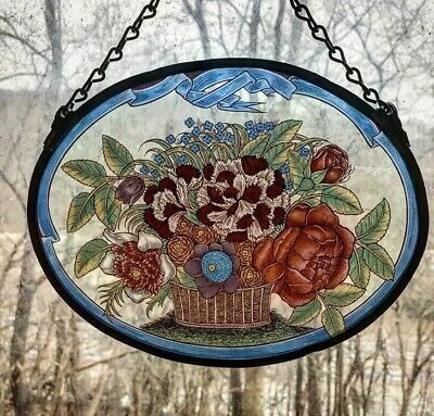 Vintage Glassmasters Stained Glass, Bouquet Of Flowers In A Basket, Blue Border