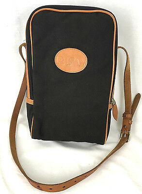 Crump Double Wine Bottle Carrier Black Canvas & Leather w Faux Sherling Interior