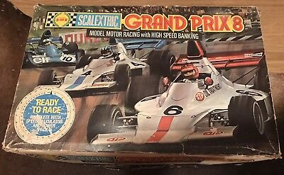 VINTAGE SCALEXTRIC GRAND PRIX 8 BANKED CURVE Formula One Set - NO