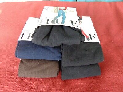 5 PAIRS NWT Women's Hue 4- Super Opaque Tights, 1 Pair Cotton Tights ALL Size 3