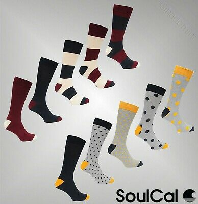 5 Pack Mens Branded SoulCal Soft Everyday Differing Patterns Formal Socks 7-11