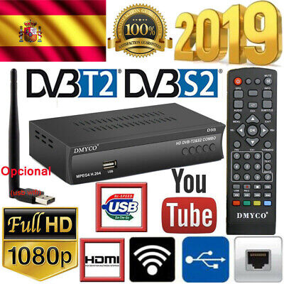 España DVB T2+S2 D3S HD 1080P PVR TV FTA Digital Satellite Receiver WIFI Antena