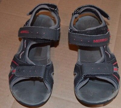 9309a5fc278a Merrell Panther Black Gray Red Accent Sandals Youth Size 2 Leather select  grip