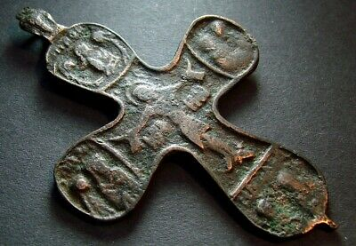 ANCIENT BIG BRONZE CROSS RARE. RELIGIOUS ARTIFACT 14-16 CENTURY. 70 mm. (R.002)