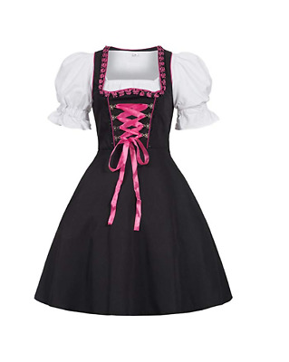 Gaudi-leathers Womens Set-2 Dirndl Pieces Embroidery 46 Pink/Black NO APRON