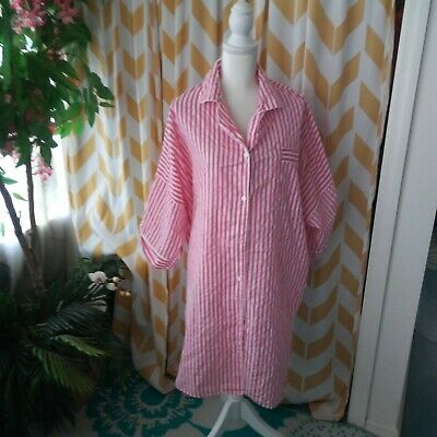 The vermont country store Ladies Size L Pink White Stripe Oversized Sleep Shirt