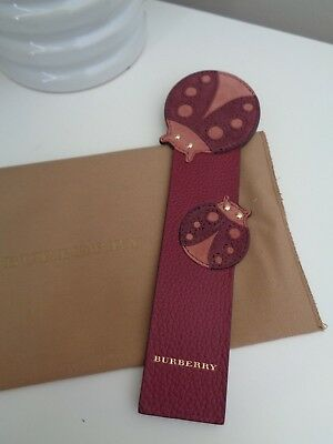 BNWoT Authentic BURBERRY Suede Leather Plum Pink Ladybug Ladybird Bookmark
