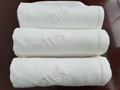 Antique French Pure Linen DAMASK TABLECLOTH + 12 napkins hand monogrammed MB