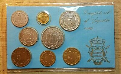 COMPLETE SET OF YUGOSLAV, 8 coins, 1 Dinar to 50 Dinar 1965-1980