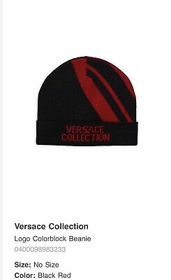 634917120b6 New Mens Versace Collection Logo Wool Cuffed Winter Beanie Hat Black Red NWT