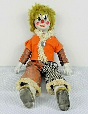Antique Circus Clown Doll 40s/50s era - Movable Glass Eyes
