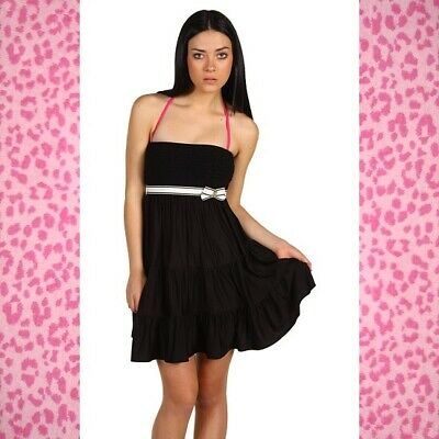 0991ac314eb1f JUICY COUTURE STRAPLESS Black Terry Cloth Smocked Swim Cover Up ...