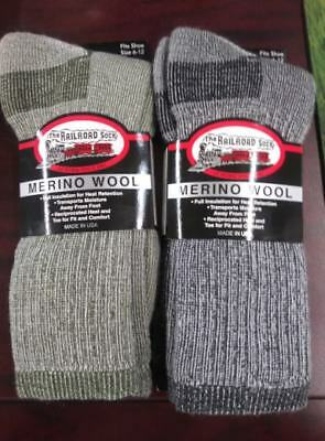 Mens Railroad Merino Wool Blend Insulated Cushioned Boot Socks  US Made