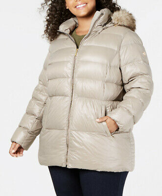 f490638ebd14f  240 Michael Kors Taupe Hooded Down Fill Packable Puffer Coat Plus Size 3X