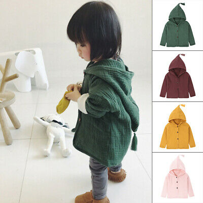 Toddler Cotton Hooded Coat Linen Simple Long Sleeve Outfit Baby Kids Clothing