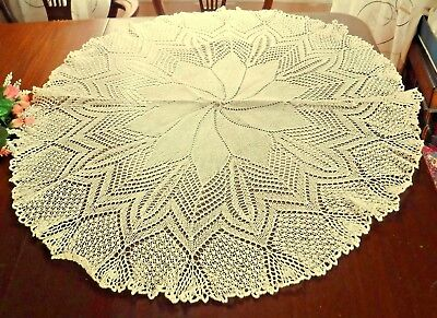 Lace Table Topper Doily Ecru Cream Cotton 3 feet wide Fine Antique Knitted Vtg