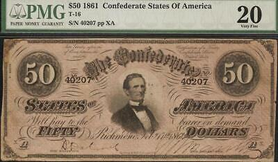 1864 $50 Dollar Bill Confederate States Note Civil War Paper Money T-66 Pmg