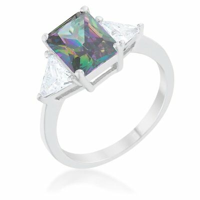 Size 9 Princess Cut Mystic CZ .925 Sterling Silver Engagement Ring