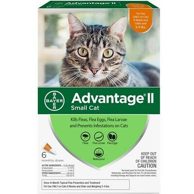 Bayer Advantage II For Small Cats 5 to 9 Lbs, 6 Month Supply, Authentic NIB EPA