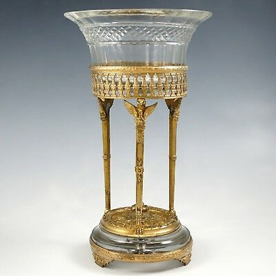 Antique French Gilt Bronze Baccarat Cut Crystal Centerpiece Bowl Stand, Eagles