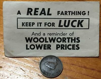 1939 Farthing In Woolworths Keep It For Luck Old Envelope..scarce.