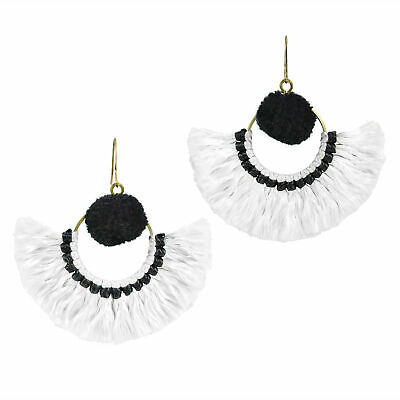 Stylish Fan Shaped Natural Tassels with Black Accents Brass Dangle Earrings