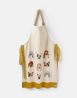 Joules Kitchen Apron Single Cotton ONE in WHITE ALL OVER DOGS in One Size