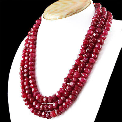 AMAZING 890.00 CTS EARTH MINED RICH RED RUBY 2 LINE PEAR SHAPED BEADS NECKLACE