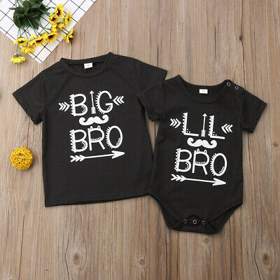 Matching Cotton Clothes Big Brother T-shirt Little Brother Romper Outfits Set AU