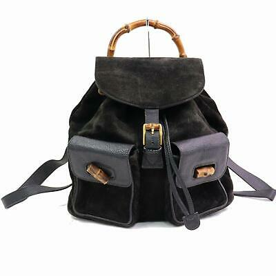 6683921b296e AUTHENTIC GUCCI BACK Pack Black Suede Leather 364755