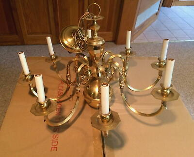 8 Light Solid Classic Williamsburg Brass Chandelier w/Mounting Hardware