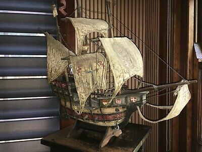 Antique model early 1900s of carrack ship